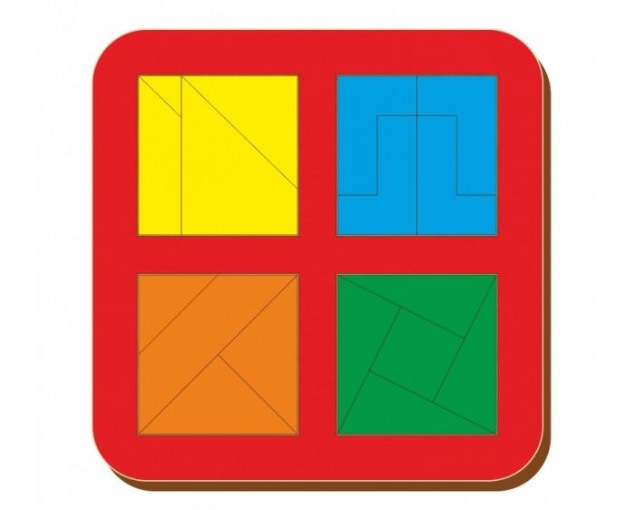Деревянные игрушки Woodland Рамка вкладыш Сложи квадрат 4 квадрата Уровень 3 64205