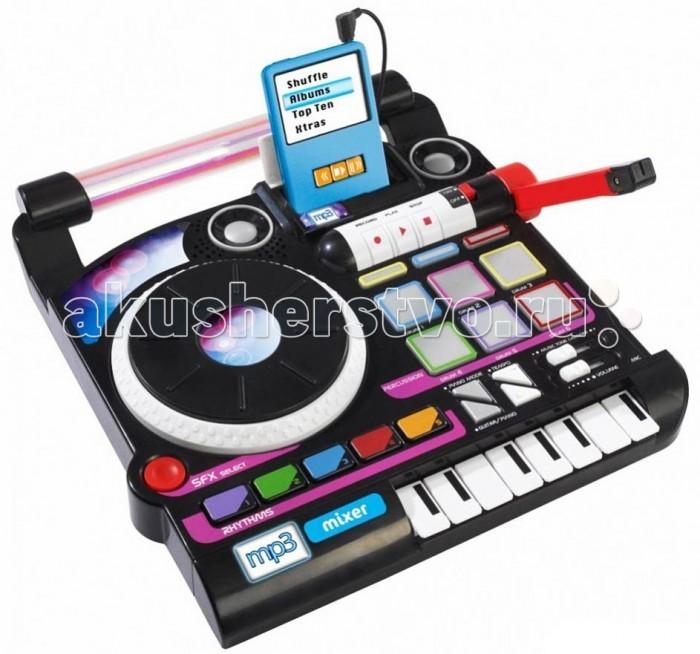 Музыкальная игрушка Simba МикшерМикшерМузыкальная игрушка Simba Микшер создан специально для маленьких DJ!   К инструменту можно подключить MP3-плеер. Вы сможете экспериментировать с музыкой, добавлять различные спецэффекты и создавать свои треки. В мелодию вы можете добавлять звуки ударных, уменьшать или увеличивать темп музыки, делать скретч.   Всего в микшере доступно 50 различных эффектов. Полученную музыкальную композицию можно записать и прослушать.  Размер: 28х29 см<br>