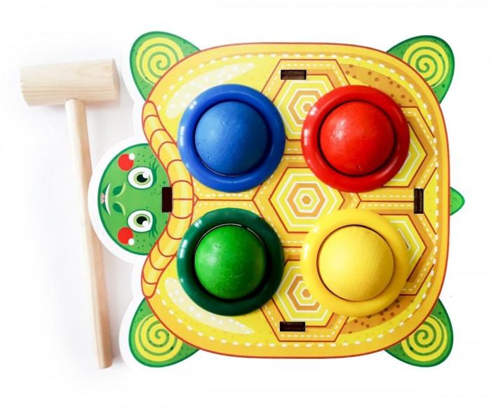 Деревянные игрушки Woodland Стучалка цветная Черепаха стучалка woodland домик 4 отверстия 115308 красный синий зеленый желтый