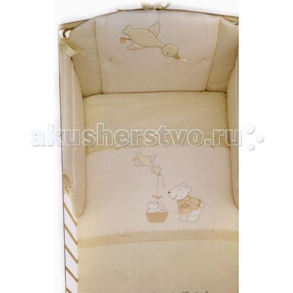 Комплект в кроватку Picci Etoile (4 предмета)Etoile (4 предмета)Комплект в кроватку Picci Etoile - постельное белье для Вашего малыша, выполнено по современным технологиям с использованием натуральных материалов, что характеризует качество продукции Picci. Постельное белье создаст уют Вашему малышу и подарят ему спокойные и приятные сны.  Основные характеристики: изысканный дизайн элитная коллекция комплект отличается высоким качеством пошива бельё полностью безопасно и гипоаллергенно благодаря устойчивым красителям, белье сохраняет насыщенность красок и безупречный вид после стирки материалы не раздражают нежное тельце ребенка, и не доставляют ему неудобств удобство и простота в использовании бампер предохраняет от ушибов о стенку кроватки качество материала обеспечивает лёгкость стирки и долговечность в комплекте одеяло-покрывало, наволочка, бампер, простыня на резинке  Материалы: состав - 100% хлопок одеяло-покрывало с синтепоновым наполнением изготовлен из материала самого высшего качества и только из натуральных тканей<br>