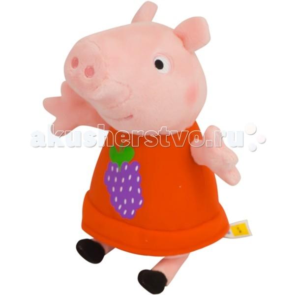 Мягкие игрушки Свинка Пеппа (Peppa Pig) Пеппа с виноградом 20 см мягкая игрушка peppa pig джордж с машинкой свинка розовый текстиль 18 см 29620
