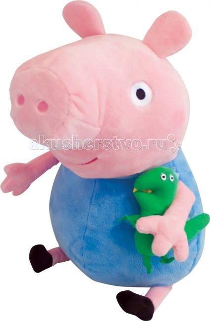 Мягкие игрушки Свинка Пеппа (Peppa Pig) Джордж с динозавром 40 см мягкая игрушка peppa pig джордж с машинкой свинка розовый текстиль 18 см 29620