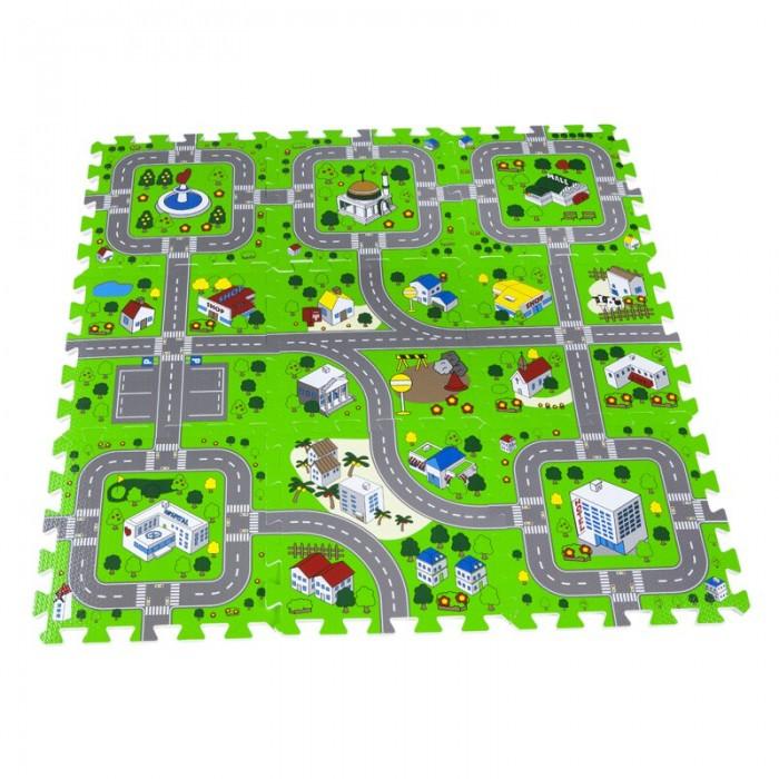 Игровой коврик Remiling Мягкий пол с рисунком Дорога 9 деталей 30х30 см