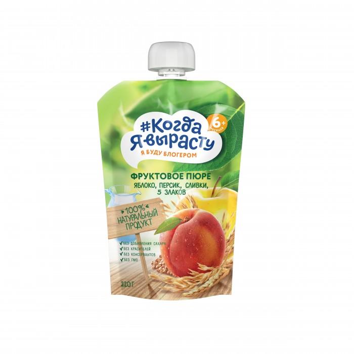 Купить Когда Я вырасту Пюре Яблоко,персик, сливки, 5 злаков без сахара с 6 мес. 220 г в интернет магазине. Цены, фото, описания, характеристики, отзывы, обзоры