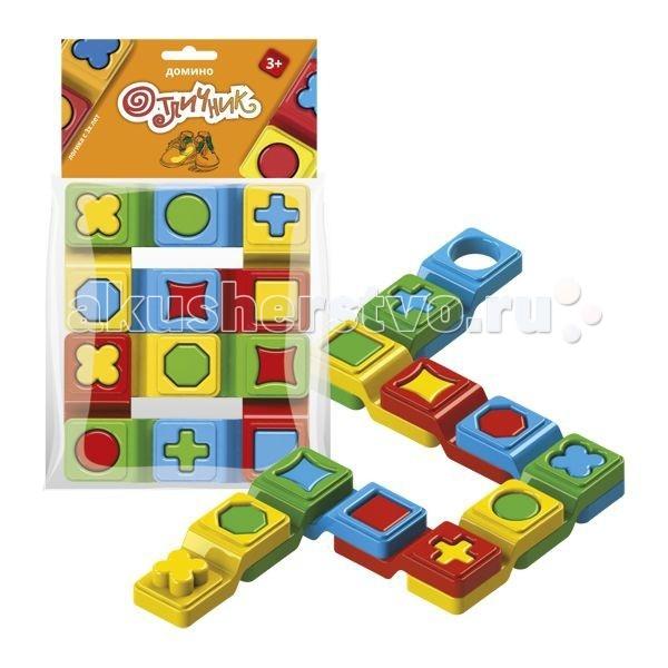 Игры для малышей Биплант Домино Отличник 12 шт. игры для малышей русский стиль домино лесное