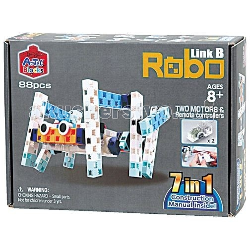 Конструктор Знаток ArTec Bloсks РоБо 7 в 1 88 деталейArTec Bloсks РоБо 7 в 1 88 деталейКонструктор Знаток Artec РоБо 7в1 88 деталей развивает не только моторику рук, пространственное и логическое мышление, но и интерес к конструированию и электротехнике.  Особенности: В наборе 88 деталей, из которых можно собрать несколько забавных угловатых фигур монстров, пауков, машин.  К деталям конструктора прилагается подробная книга-инструкция, которая поможет ребенку в создании интересных, необычных моделей. В дополнении к стандартным геометрическим деталям в наборе идут два двигателя, с помощью которых можно превратить созданные модели в движущиеся. Такая возможность делает конструктор еще более привлекательным для ребенка.<br>