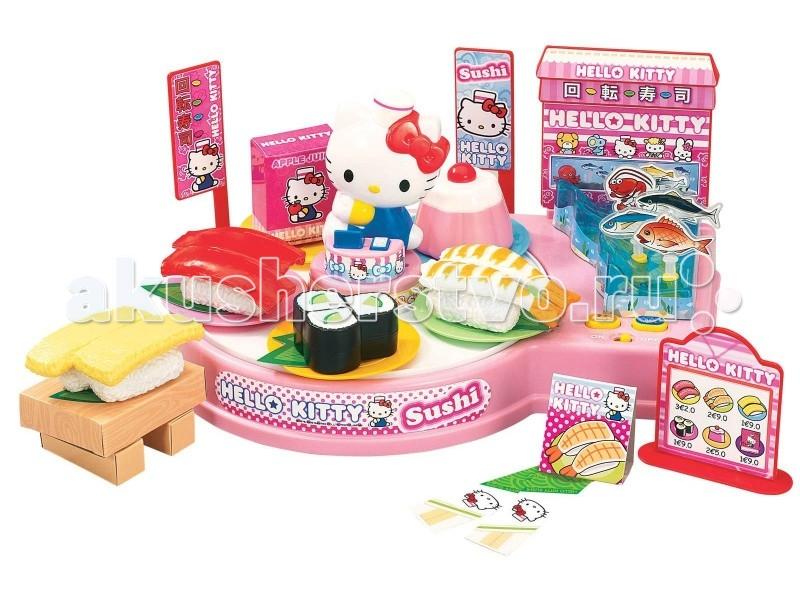 Hello Kitty Игровой набор Суши барИгровой набор Суши барHello Kitty Игровой набор Суши бар позволит создавать суши и разыгрывать сюжетно-ролевые игры. В наборе есть пластиковые модели еды, которые можно по-разному соединять между собой, чтобы создавать те или иные японские деликатесы (ингредиенты крепятся при помощи липучек).  Особенности: В наборе есть пластиковые модели еды, которые можно по-разному соединять между собой, чтобы создавать те или иные японские деликатесы (ингредиенты крепятся при помощи липучек). Круглый поднос в центре набора крутится под веселую музыку, чтобы посетители суши-бара могли выбрать угощение себе по вкусу.  Сбоку от крутящейся платформы есть бассейн с рыбкой, так как в японских ресторанах еда традиционно готовится на глазах у гостя: пусть маленький повар выловит рыбку и тут же положит ее на основу, изображающую рис. Высота фигурки Хелло Китти: 9.5 см. Размер аквариума: 30 х 21.5 см.  В комплекте: подиум с крутящимся музыкальным подносом и аквариумом размером, 5 рыбок, 5 тарелок, сачок, меню, суши с креветками, красной рыбой и яйцом, роллы с огурцом, пудинг, коробочка с соком, коробочки со специями, наклейки.<br>