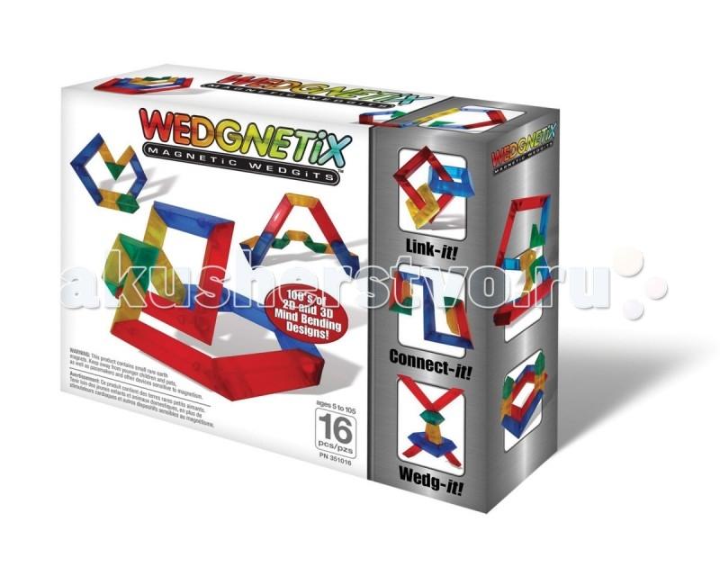 Конструктор Wedgits Wedgnetix (16 деталей)Wedgnetix (16 деталей)Конструктор Wedgits Wedgnetix ( 16 деталей) с магнитами для строительства геометрических конструкций.  Особенности: Совместим со стандартным WEDGITS.  В наборы WEDGNETiX входят детали 4 видов, позволяющие юным архитекторам создавать удивительные конструкции в 3D-формате. Благодаря конструктору «WEDGNETiX 16 деталей» ребенок познакомится с симметрией, различными геометрическими фигурами, разовьет пространственное мышление.  Элементы поворачиваются на 360 градусов, поэтому фигуры получаются очень оригинальными.  Работать можно как по инструкции, так и воплощая собственные идеи.<br>