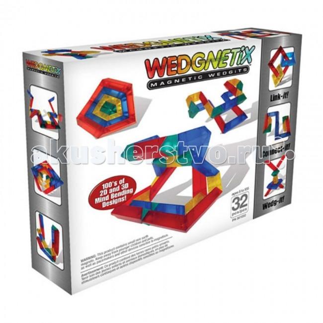 Конструктор Wedgits Wedgnetix (32 детали)Wedgnetix (32 детали)Конструктор Wedgits Wedgnetix ( 32 детали) с магнитами для строительства геометрических конструкций.  Особенности: Совместим со стандартным WEDGITS.  В наборы WEDGNETiX входят детали 4 видов, позволяющие юным архитекторам создавать удивительные конструкции в 3D-формате.  Благодаря конструктору «WEDGNETiX 32 детали» ребенок познакомится с симметрией, различными геометрическими фигурами, разовьет пространственное мышление.  Элементы поворачиваются на 360 градусов, поэтому фигуры получаются очень оригинальными.  Работать можно как по инструкции, так и воплощая собственные идеи.<br>
