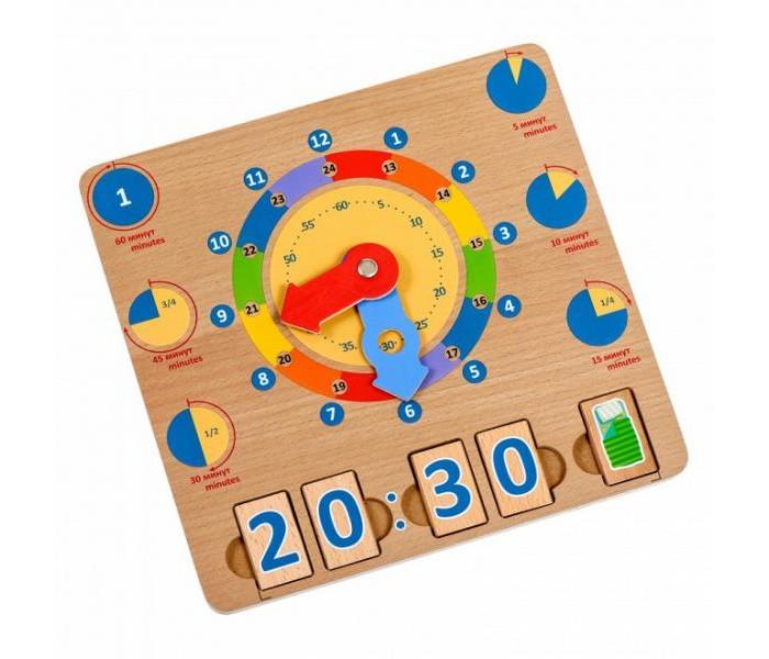 Развивающая игрушка Игрушки из дерева Бизиборд Учим время фото