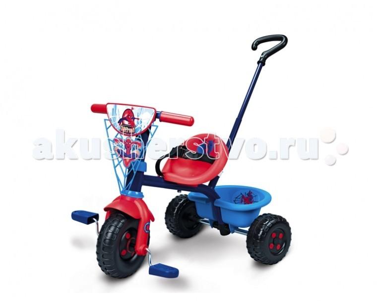 Велосипед трехколесный Smoby Be Fun Человек-паукBe Fun Человек-паукТрехколесный велосипед Smoby Be Fun Человек-паук - яркий и красивый трехколесный велосипед и прогулочная коляска для детей в возрасте от 15 месяцев и старше.    Особенности:   ручка для родителей изменяется по длине, съемная,   специальный механизм позволяет во время движения малышу держать ноги на педалях,   особая структура металла, придающая прочность конструкции велосипеда,   возможность фиксации руля в положении «прямо»,   удобное сиденье с ремнями безопасности,   расстояние между сиденьем и педалями регулируется — 3 положения,   руль поворачивается влево — вправо на 30 градусов,   удобный и вместительный багажник, который поднимается как борт самосвала.   Размер: 71х50х54.7 см<br>