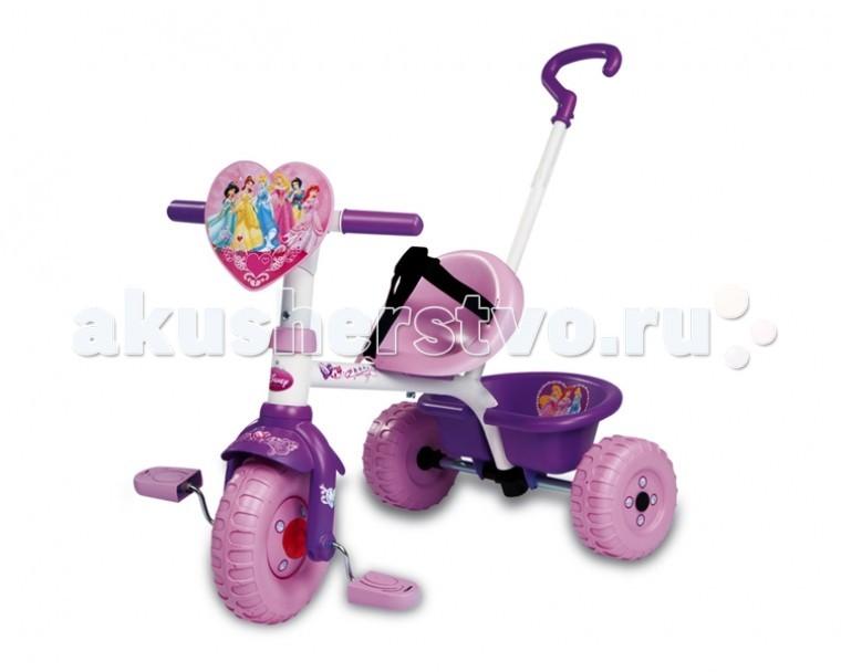 Велосипед трехколесный Smoby PrincessPrincessТрехколесный велосипед Smoby Princess выполнен в красивых, нежных цветах.   Яркий и красивый трехколесный велосипед и прогулочная коляска для детей в возрасте от 15 месяцев и старше.    Особенности:    ручка для родителей изменяется по длине, съемная,   специальный механизм позволяет во время движения малышу держать ноги на педалях,   особая структура металла, придающая прочность конструкции велосипеда,   возможность фиксации руля в положении «прямо»,   удобное сиденье с ремнями безопасности,   расстояние между сиденьем и педалями регулируется — 3 положения,   руль поворачивается влево — вправо на 30 градусов,   удобный и вместительный багажник, который поднимается как борт самосвала.    Размер: 71х50х54,7 см<br>