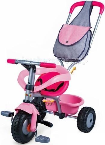 Велосипед трехколесный Smoby розовый с сумкой