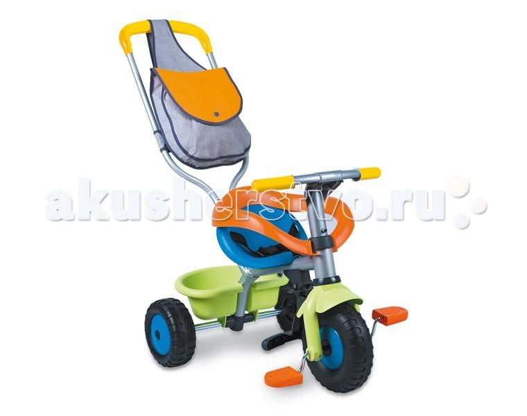 Велосипед трехколесный Smoby с сумкойс сумкойТрехколесный велосипед Smoby с сумкой выполнен в красивых, нежных цветах.   Яркий и красивый трехколесный велосипед и прогулочная коляска для детей в возрасте от 15 месяцев и старше.    Особенности:    велосипед на металической раме  оснащен дугами и ремнями безопасности, также есть удобная подставка для ножек  фиксатор руля в положение прямо  возможность холостого хода педалей  регулируемый по высоте толкатель с удобной сумкой  колеса изготовлены из упрочненного пластика   Размер: 95х50х89 см<br>