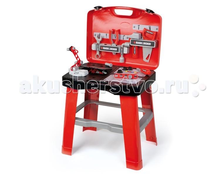 Smoby Ремонтная мастерская в чемоданчикеРемонтная мастерская в чемоданчикеРемонтная мастерская Smoby в чемоданчике - портативная ремонтная мастерская, которая легко собирается в чемоданчик.    Особенности:    оригинальный дизайн  в раскрытом, собранном виде чемоданчик представляет собой верстак со всеми необходимыми инструментами: молоток, пила, плоскогубцы, разводной ключ, крестовая отвертка, также есть пластиковые детали с отверстиями, которые можно скреплять между собой имеющимися в наборе болтами и шайбами  на рабочей поверхности верстака есть тиски, с помощью которых можно зафиксировать необходимую для работы деталь  после игры все инструменты можно разместить на верхней стенке верстака и трансформировать его в чемоданчик с ручкой для переноски  более 25 аксессуаров  удобные полки, удобная рабочая поверхность и тиски  материал: упрочненный гигиеничный пластик с элементами из металла    Размер чемоданчика (дхшхв): 43x11x32,5 см Высота мастерской: 76,5 см<br>