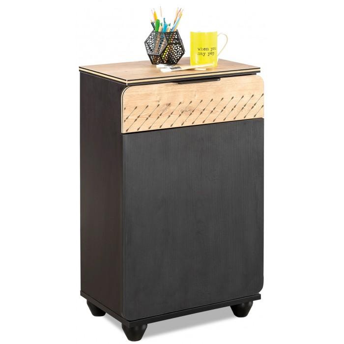 Комод Cilek тумбочка Compact BlackКомоды<br>Cilek Тумбочка Compact Black   Тумбочка - это компактная, но функциональная мебель. Она предназначается для хранения всевозможных мелочей. Многие родители выбирают для размещения в детской комнате модель Cilek Compact 20.58.1602.00.   Она гармонично вписывается в любой интерьер, но наиболее эффектно смотрится в помещениях, где ремонт выполнен в современном стиле. Контрастные тона делают эту мебель оригинальной. Более того, она может стать главной стилистической доминантой за счет необычного внешнего вида.  Производитель из Турции позаботился не только о дизайне изделия, но и о его качестве. Родители могут покупать эту тумбу для детей любого возраста. Она устойчивая, поскольку оснащается четырьмя прочными ножками.   Благодаря таким элементам человеку не придется перед проведением уборки отодвигать мебель. Ножки позволяют получить полноценный доступ к напольному покрытию. Неоспоримое преимущество данной модели - компактность. Она не занимает много места в комнате, но считается вместительной.  Для создания мебели производитель применил высококачественный ДСП. Высокая прочность, устойчивость к износу, экологичность, привлекательный внешний вид - это только часть преимуществ, которыми обладает данный материал. А еще он не подвергается негативному воздействию УФ-лучей, благодаря чему тумба, изготовленная из него, не потеряет насыщенности цвета.  Особенности: Размеры (ширина х глубина х высота), см: 44х37х71 Материал: Материал ДСП класс Е1, 8 -16 мм толщина с меламиновым покрытием Вес, кг: 16.900 Оъем, м3: 0.040 Цвет: Черно-коричневый