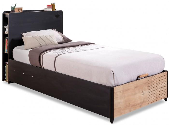 Подростковая кровать Cilek с подъемным механизмом BlackКровати для подростков<br>Cilek Кровать с подъемным механизмом Black - идеальное приобретение для комнаты подростка.  Эта кровать покоряет своим современным дизайном в новомодном стиле лофт, практичностью, надежностью, удобством и оптимальными размерами спального места, позволяющими с комфортом разместиться даже ребенку с довольно крупным телосложением.  У этой кровати есть несколько неоспоримых преимуществ, в том числе: наличие подъемного механизма с вместительным внутренним ящиком для хранения самых необходимых постельных принадлежностей и прочих вещей многочисленные встроенные в изголовье полочки, позволяющие с удобством хранить книги, журналы и прочие мелочи, и всегда держать их на расстоянии вытянутой руки наличие встроенного в изголовье устройства с разъемом USB для быстрой подзарядки мобильного телефона и других важных гаджетов Дизайн кровати простой и современный, сдержанный и в то же время очень стильный, что делает данный предмет мебели идеальным дополнением для любого интерьера.  Кровать выполнена в классическом темном черно-коричневом цвете с бежевым изножьем  Особенности: Производитель: Cilek Страна производства: Турция Модель: Black Пол: Для мальчика Материал: ДСП класс Е1, 8 -16 мм толщина с меламиновым покрытием Количество спальных мест: Одно Возраст: От 3 лет Кромка: ПВХ Основание: Сплошное Раздвижная: Нет Цвет: Черно-коричневый Комплектация: Наличие бортиков: Нет Мягкая спинка: Нет Наличие выдвижного спального места: Нет Наличие подъемного механизма: Есть Наличие ящиков для белья и мелочей: Есть Размеры: Размер под матрас, см: 190 на 100 Рекомендуемая высота матраса: 12-15 см Длина, см: 224 Ширина, см: 103 Высота, см: 108 Вес, кг: 124.700