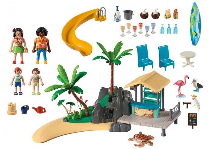 Конструктор Playmobil Круизный Лайнер: Бар на островеКонструкторы<br>Конструктор Playmobil Круизный Лайнер: Бар на острове предназначен для детей возрастом от 6 лет.  Этот набор позволит вашему ребенку окунуться во многочасовую игру, которая позволит ему представить себя отдыхающим на летнем курорте, который вместе с остальными туристами остановился на острове, чтобы попробовать местные коктейли и угощения, а также расслабиться на пляже.  Особенности:  Фигурки взрослых представляют собой парня и девушку, одетых по-летнему красиво и модно. Длинноволосая брюнетка в салатовой юбке и с ожерельем на шее из цветов выглядит как местная жительница. Темнокожий парень с кучерявыми волосами улыбается во весь рот и подрабатывает барменом на острове. Дети одеты в купальники и представляют собой мальчика и девочку. В руках игровых фигурок имеются специальные пазы, которые позволяют вставлять в них некоторые аксессуары Детали данного набора позволяют получить фрагмент острова с пальмами, песочным пляжем и пирсом с баром. Также к конструкции крепится винтовая горка, ведущая прямо в воображаемое море Фигурки животных позволят создать более реалистичную атмосферу в придуманной сюжетной игре. Среди них получится найти: фламинго, какаду, чайку и черепаху Дополнительные аксессуары предназначены для комфортного времяпрепровождения отдыхающих. Для детей предусмотрены наборы для игр с песком, а для взрослых всевозможные коктейли и даже доска для серфинга. Все детали набора изготовлены из качественного, гипоаллергенного пластика, который полностью безопасен в использовании и окрашен особыми нетоксичными красителями Во время игры у ребенка получится разработать свои пальчики, пофантазировать, а также весело провести время Набор совместим с комплектом Судно 6978, а также другими наборами из серии Круизный лайнер. В комплекте:   фигурки взрослых фигурки детей и животных барная стойка мебель напитки горка дополнительные аксессуары.