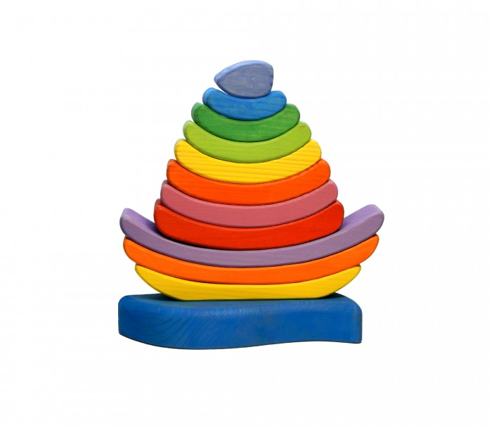 Деревянная игрушка Чудево кораблик-пирамидка Радуга