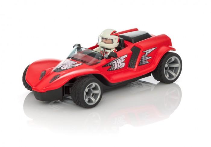 Playmobil Радиоуправляемый ракетный гонщикМашины<br>Playmobil Радиоуправляемый ракетный гонщик предназначен для детей возрастом от 6 лет.  Автомобиль из этого набора просто создан для того, чтобы побеждать. Его яркий красный цвет и счастливое число 78 уже являются хорошими знаками к победе, а под управлением опытного пилота эта задача не будет казаться невыполнимой.  Особенности:  Пилот одет в специальный гоночный костюм, а его голову защищает массивный шлем. Его фигурка прекрасно помещается за рулем представленного гоночного автомобиля, поэтому кажется, что он сам управляет машиной. Машина выполнена в виде гоночного автомобиля красного цвета, кузов которого декорирован номером 78 и специальными наклейками. Передние и задние фары машины светятся как настоящие, делая ее еще более реалистичной. Управление автомобилем осуществляется с помощью пульта ДУ, работающего на частоте 2,4 ГГц или мобильного приложения, функционирующего по технологии Bluetooth 4.0. Автомобиль и пульт, предназначенный для него, работают на батарейках, дальность действия игрушки составляет до 10 метров Набор изготовлен из качественного, гипоаллергенного пластика, который полностью безопасен в использовании и окрашен особыми нетоксичными  Во время игры у ребенка получится разработать свои пальчики, пофантазировать, а также весело провести время, представляя себя гонщиком Питание: 7 мизинчиковых батареек типа AAA LR0.3 1.5V. В комплекте:   машинка пилот пульт ДУ.