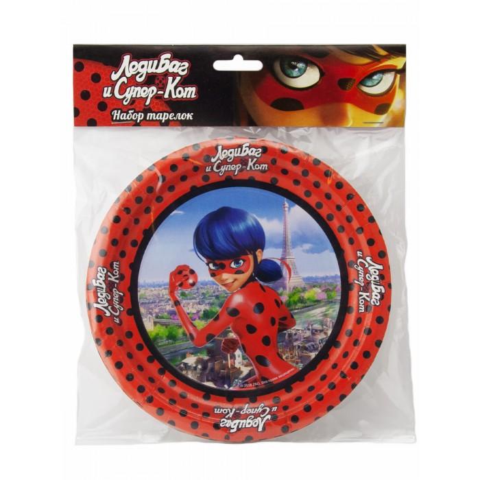 Товары для праздника Nd Play Леди Баг и Супер-Кот Набор бумажных тарелок 6 шт. набор бумажных форм для кексов красный узор диаметр дна 5 см 50 шт