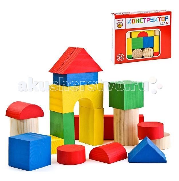 деревянные конструкторы Деревянные игрушки Томик Конструктор Цветной 26 деталей