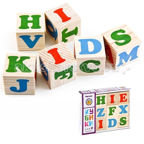 Деревянные игрушки Томик Кубики Алфавит английский 12 штук томик кубики алфавит английский 12 штук томик