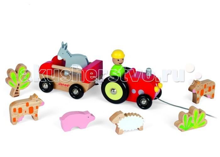 Каталка-игрушка Janod Трактор с животными