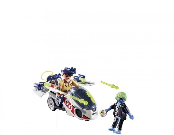Конструктор Playmobil Охотники за привидениями Стэнц с небесным велосипедомКонструкторы<br>Конструктор Playmobil Охотники за привидениями Стэнц с небесным велосипедом предназначен для детей возрастом от 6 лет.  Поймать приведенье не так просто, однако если в арсенале охотника имеется соответствующее оружие и специальный транспорт, позволяющий даже парить в облаках, можно попробовать провернуть данную затею, что и предлагает этот набор от Playmobil.  Особенности:  Игровыми фигурками набора являются охотник за приведениями Рэймонд Стэнц и одноглазый призрак с голубой кожей и зелеными волосами. У персонажей подвижные руки и головы, а также соответствующий внешний вид. Кроме того, в руках героев имеются специальные пазы, которые позволяют вставлять в них некоторые аксессуары Небесный велосипед представляет собой летательный аппарат для поимки призраков, у него присутствуют складные крылья по бокам, на которых закреплены функциональные пушки, стреляющие по нажатию на соответствующую кнопку. В кабину велосипеда можно посадить игровую фигурку Рэймонда Стэнца Дополнительные аксессуары набора позволят добиться большей реалистичности для данной игры. Среди них протонный ранец и прочее Все детали набора изготовлены из качественного, гипоаллергенного пластика, который полностью безопасен в использовании и окрашен особыми нетоксичными красителями Во время игры у ребенка получится разработать свои пальчики, пофантазировать, а также весело провести время, представляя себя охотником за привидениями. В комплекте:   2 игровые фигурки велосипед дополнительные аксессуары.