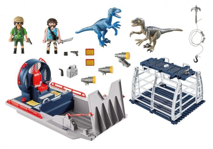 Конструктор Playmobil Динозавры Вражеское воздушное судно с ящеромКонструкторы<br>Конструктор Playmobil Динозавры Вражеское воздушное судно с ящером предназначен для детей возрастом от 4 лет.  С помощью данного комплекта получится осуществить транспортировку таких опасных существ, как динозавры, только стоит быть предельно осторожными, чтобы клетка случайно не открылась, и эти хищники не вырвались наружу.  Особенности:  Игровыми фигурками набора являются контрабандисты. У них подвижные руки и головы, а также соответствующая одежда. Кроме того, в руках героев имеются специальные пазы, которые позволяют вставлять в них некоторые аксессуары. Динозавры представляют собой тераподов, выполненных в голубом и сером цветах соответственно Плавательное средство имеет откидную платформу, его можно доукомплектовать специальным мотором, который приобретается отдельно. Данный транспорт хорошо держится на воде и может быть использован для реалистичных игр в ванной. Транспортировка динозавров осуществляется благодаря клетке с открывающейся дверью  Дополнительные аксессуары набора позволят добиться большей реалистичности для данной игры. Среди них присутствуют прожекторы, гарпуны и прочее оружие для поимки хищников Все детали набора изготовлены из качественного, гипоаллергенного пластика, который полностью безопасен в использовании и окрашен особыми нетоксичными красителями Во время игры у ребенка получится разработать свои пальчики, пофантазировать, а также весело провести время. В комплекте:   2 фигурки человечков 2 фигурки динозавров плавательное средство клетка дополнительные аксессуары.