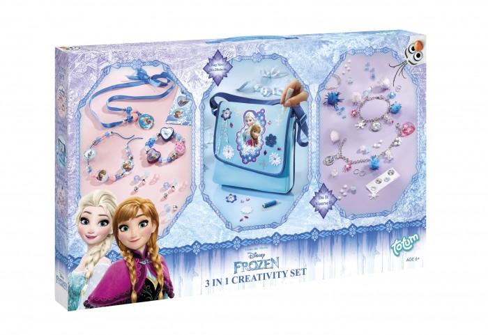 Totum Набор для творчества Frozen Creativity set 3 в 1Наборы для создания украшений<br>Totum Набор для творчества Frozen Creativity set 3 в 1 который понравится любой маленькой принцессе.   С его помощью она может сама украсить сумку с ледяной королевой и собрать два красивых набора браслетов и ожерелий. В середине сумочки напечатан рисунок принцессы Frozen.   В комплекте:   1 мягкая сумка 2 цепочки для браслетов разноцветные бусины несколько помпонов кулон в виде сердечка разноцветные пластиковые бусины 2 круглые пластмассовые подвески блески-снежинки набор 3D наклеек металлическая проволока металические кольца инструкция.