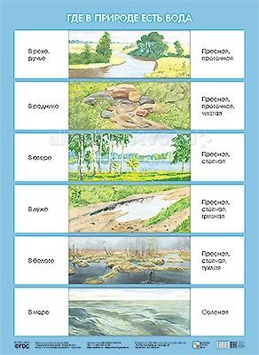 Обучающие плакаты Мозаика-Синтез Обучающий плакат Где в природе есть вода