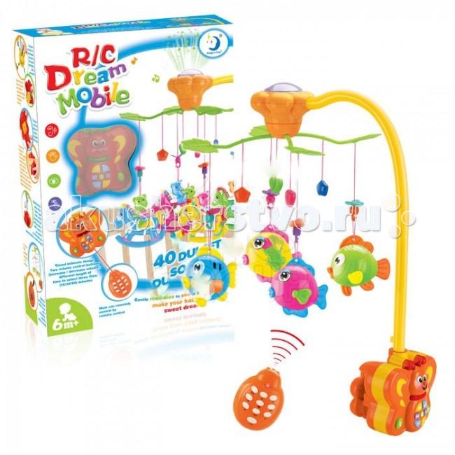 Мобиль Henglei  Рыбки со светом и д/уРыбки со светом и д/уМузыкальный мобиль Рыбки со светом и д/у.  Помогает им в развитии фиксирования зрения на движущихся предметах, улучшает засыпание. Цветные игрушки привлекут его внимание, а звук мелодии позволит ребёнку успокоиться.   Характеристики: пластиковые игрушки - рыбки-погремушки музыкальный блок с регулировкой звука музыкальный блок со светом на батарейках с пультом дистанционного управления выполнены из безопасных материалов высокого качества<br>