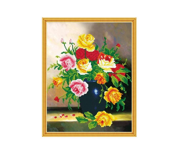 Molly Алмазная мозаика с нанесенной рамкой Самоцветы Букет в синей вазе (28 цветов)