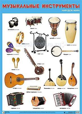 Обучающие плакаты Мозаика-Синтез Обучающий плакат Музыкальные инструменты народов мира инструменты