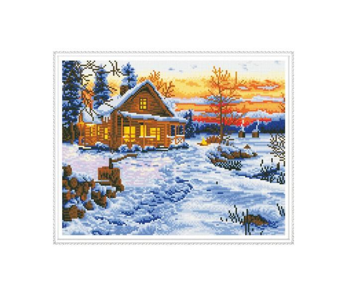 Molly Алмазная мозаика с нанесенной рамкой Самоцветы Зимний пейзаж (23 цвета)