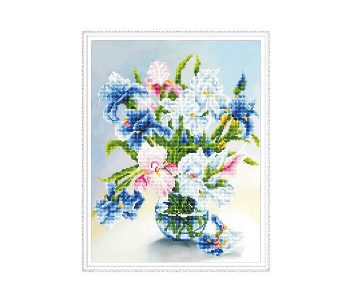 Molly Алмазная мозаика с нанесенной рамкой Самоцветы Букет ирисов (23 цвета)