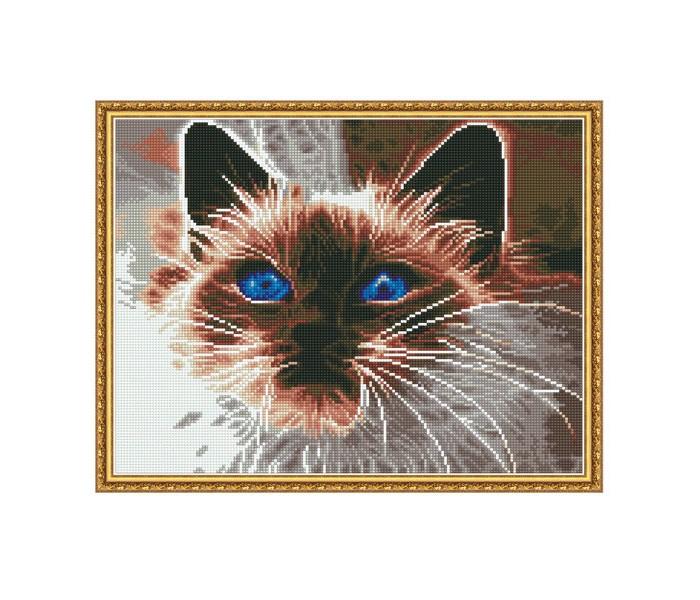 Molly Алмазная мозаика с нанесенной рамкой Самоцветы Дымчатый кот (21 цвет)