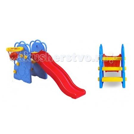Горка Edu-Play Слоненок с баскетбольным кольцомСлоненок с баскетбольным кольцомДетская горка Слоненок в комплекте с баскетбольной корзиной и мячом, предназначена для игр на улице и в помещении.  Для детей в возрасте от 18 месяцев до 4 лет, максимальная нагрузка 20 кг.  Дизайн горки разработан для постоянного движения, что способствует развитию координации и различных групп мышц ребенка.  Детская горка также подойдет для дачи.  Изготовлена из прочного экологически чистого пластика, безопасного для людей, конструкция прочная и надежная, прослужит долгие годы.  Размер горки (дхв)  173x83 см Длина ската  147 см<br>