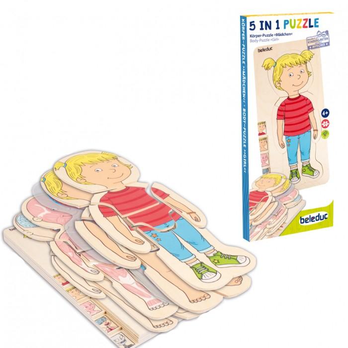 Деревянные игрушки Beleduc Развивающий пазл Изучаем тело. Девочка