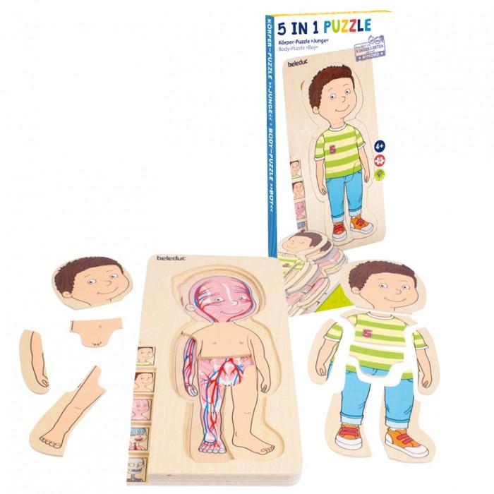 Деревянные игрушки Beleduc Развивающий пазл Изучаем тело. Мальчик