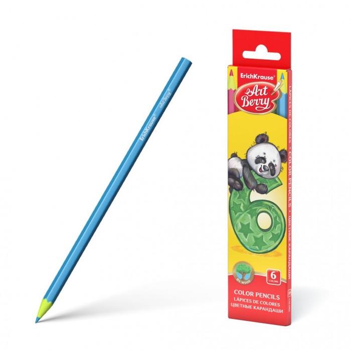 Карандаши, восковые мелки, пастель ArtBerry Пластиковые цветные карандаши шестигранные 6 цветов erichkrause пластиковые цветные карандаши шестигранные artberry 18 цветов 46429