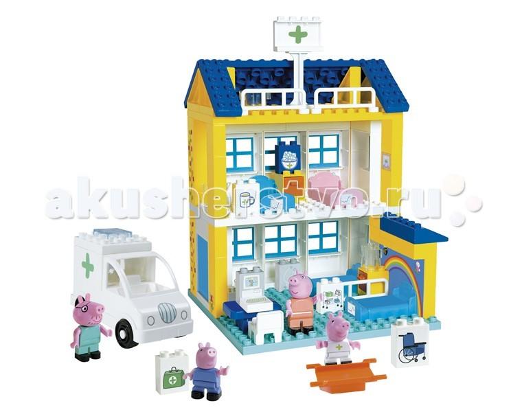 Конструктор Smoby Больница Peppa PigБольница Peppa PigКонструктор Smoby Больница Peppa Pig. Современный мультфильм о Свинке Пеппе очень популярен среди детей. Теперь с любимыми героями можно встретиться не только на экране, но и в жизни. Но самое главное, что конструктор позволяет собрать из деталей целое здание, которое в игре может выполнять роль больницы, а игровые фигурки могут стать настоящими врачами и санитарами. Для такого увлекательного сюжета в комплекте также предусмотрена машина скорой и удобные носилки для пациентов.  Если кто-то заболел, то ему срочно необходимо к врачу! Новый конструктор Больница Peppa Pig поможет вылечить всех от гриппа.   В этом большом наборе вы найдете 4 фигурки любимых героев, а так же автомобиль скорой помощи.   Больница состоит из двух этажей и укомплектована всем необходимым: кровати, тумбочки, компьютер, витаминами, горячим чаем и многим другим.   С помощью такого набора дети смогут играть в докторов и не будут бояться посещать врачей.  Наборы совместимы с конструкторами серии Duplo.<br>
