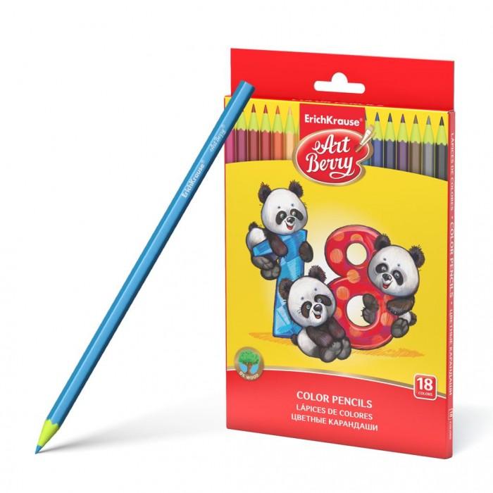 Карандаши, восковые мелки, пастель ArtBerry Пластиковые цветные карандаши шестигранные 18 цветов erichkrause пластиковые цветные карандаши шестигранные artberry 18 цветов 46429