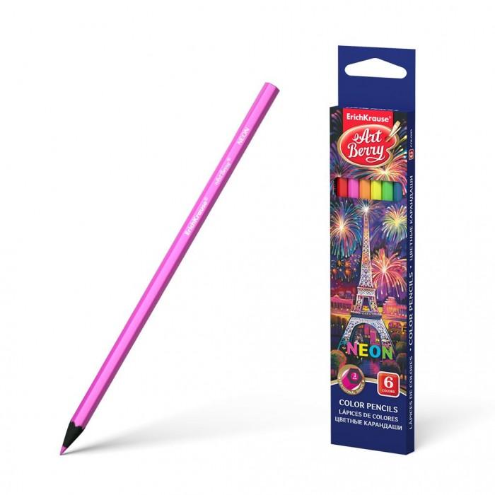 Карандаши, восковые мелки, пастель ArtBerry Цветные карандаши шестигранные Neon 6 цветов erichkrause пластиковые цветные карандаши шестигранные artberry 18 цветов 46429