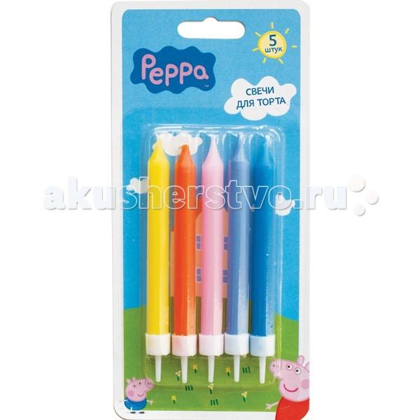 Товары для праздника Свинка Пеппа (Peppa Pig) Набор свечей с держателем 5 шт. набор аппликаций 5 картинок peppa pig набор аппликаций 5 картинок