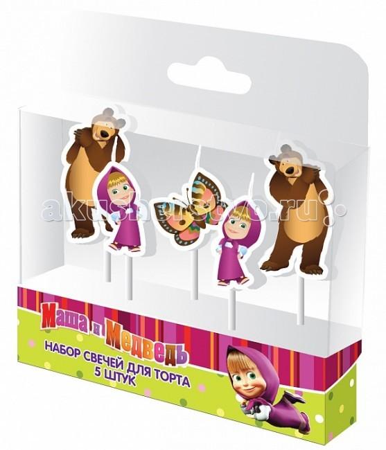 Товары для праздника Маша и Медведь Набор свечей на палочках 5 шт. отк 1 5 спальный день рождения маша и медведь