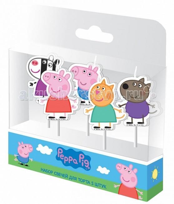 Товары для праздника Свинка Пеппа (Peppa Pig) Набор свечей и друзья 5 шт.