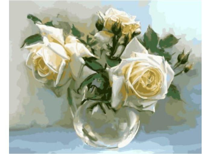 Купить Картины по номерам, Molly Картина по номерам Белые розы 40х50 см