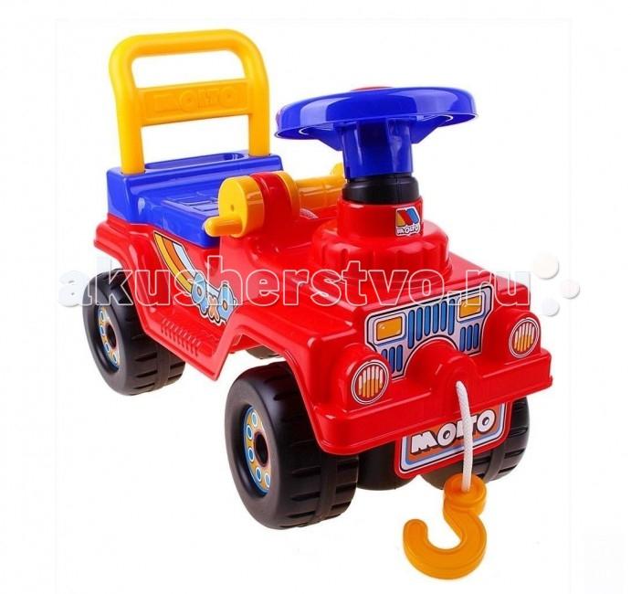 Каталка Molto Автомобиль Джип 4х4Автомобиль Джип 4х4Каталка Molto Автомобиль Джип оснащен музыкальным рулем. Каталка имеет открывающийся багажник и вращающийся руль со звуковым сигналом.  Машинки-каталки всегда были любимы и детьми, и взрослыми. Они способны решать любые задачи.  Особенности: Колеса диаметром 15 см.  Джип может быть ходунками и машинкой-каталкой. Ходунки для детей от 10 месяцев. Благодаря специальной ручке за сиденьем каталки, ребенок может опираться на машинку и делать свои первые шаги. Машинка-каталка для самостоятельного использования малышами от 12 месяцев. Эта машинка идеально подходит для катания дома, на детских площадках, во дворах и парках.  Под откидным сиденьем каталки имеется багажное отделение, в которое Ваш ребёнок может сложить свои любимые игрушки, которые понадобятся ему в его путешествии.  Каталка Джип способна развить у Вашего малыша пространственное и зрительное восприятие окружающего мира, любознательность, внимание и развивать малыша физически.  Все детали выполнены из качественной пластмассы.  Идеальный европейский пластик, не подверженный выгоранию на солнце и деформации от перепада температур.  Рекомендуется для детей от 10 месяцев.<br>